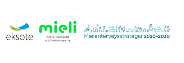 eksoten, mieli e-k:n ja mielenterveysstrategian logot