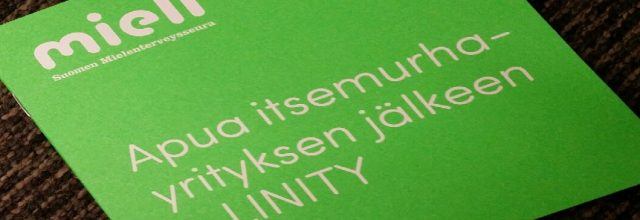 Vihreä esite, jossa teksti: Apua itsemurhayrityksen jälkeen - LINITY