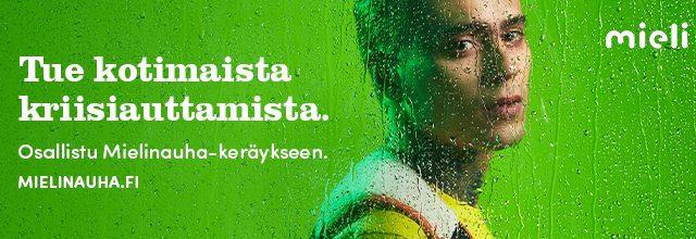 Artisti Mikael Gabriel kuvattuna sivulta tekstinä: Tue kotimaista kriisiauttamista